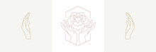 Palms Holding Rose Flower And Hands In Boho Linear Style Vector Illustrations Set.