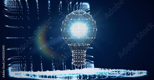 Composition of lit light bulb and laptop with network of connections on blue background
