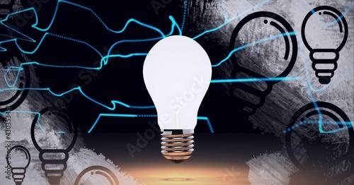 Composition of lit light bulb over light bulb icons on black background