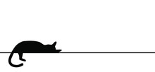 Drawing Cat Line Pattern. Sleeps, Rests Or Dreams. Kitty Silhouette Pictogram.
