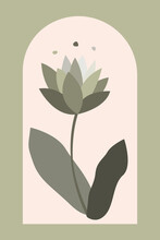 Boho, Flower, Plant, Minimalist, Bohemian, Wall, Art, Pattern, Mid Century Modern, Contemporary, Poster, Print, Card, Trendy, Fashion, Isolated, Label, Green, Greenery, Dorm, Lotus, Abstract, Lily, Fl