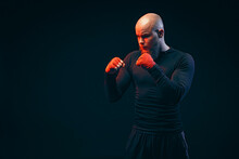 Sportsman Boxer Fighting On Black Background, Boxing Sport Conce
