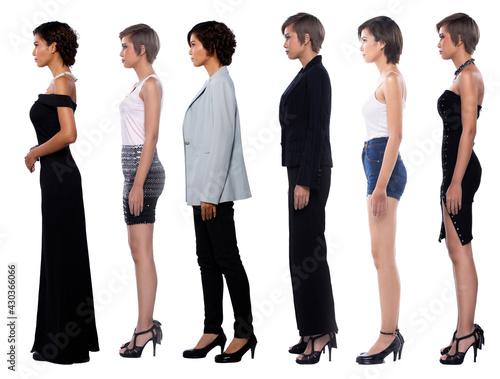 Canvas-taulu Full body length diversity of 20s 30s Asian Women diversity career que line