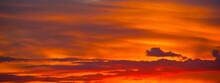 Beautiful Orange Clouds In The Summer Sunset Sky