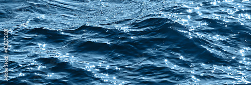 abstract background, texture sea blue water, waves and ripples on the ocean, sea Fototapeta