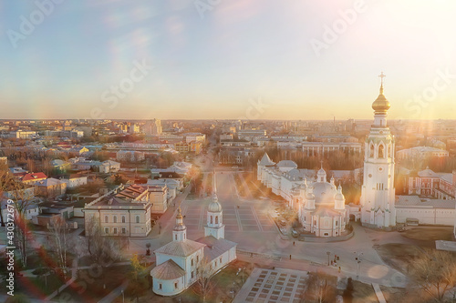 spring top view of vologda landscape, church and cathedral, view in russia ortho Wallpaper Mural