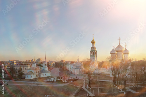 Canvas Print spring top view of vologda landscape, church and cathedral, view in russia ortho
