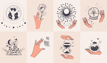Magic Hands Holding Flowers, Magic Ball, Sun, Clock And Butterfly Minimalist Hands And Flowers, Abstract Hand Drawn Flower Symbols. A Set Of Vector Illustrations Of Modern Magic Elements. Flat Vector