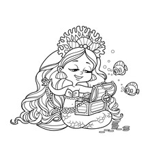 Cute Little Mermaid Girl In Coral Tiara Sits On Its Tail And Goes Through The Treasures In The Chest Outlined For Coloring Page Isolated On White Background