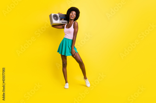 Canvas Print Full body photo of attractive dark skin trendy woman hold cassette player wear p