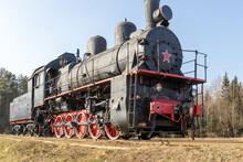 Old Steam Locomotive On Rails