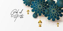 Ramadan Kareem Greeting Card Design Template For Invitation, Banner, Poster With Lamp, Crescent, Calligraphy. Realistic Vector Illustration Eid Al Fitr (Feast Of Breaking The Fast). Eid Mubarak. Hijri