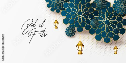 Slika na platnu Ramadan kareem greeting card design template for invitation, banner, poster with lamp, crescent, calligraphy