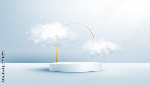 Product display podium decorated with realistic cloud and gold frame on pastel background
