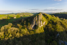 Aerial View Of Thor's Cave At Sunset, Peak District, Derbyshire, United Kingdom.