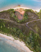 Aerial View Of An Off Path Road Along The Lagoon Beach In Brands Bay, Studland Nature Reserve, Dorset, United Kingdom.