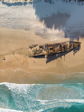 Aerial View Of The Maheno Shipwreck Washed Up On The Beach, Fraser Island, Queensland, Australia. Top Down Perspective.