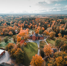 Sangaste, Estonia - 5 October 2019 : Aerial View Of The Sangaste Castle In Sangaste, Valgamaa, Estonia.