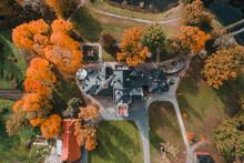 Sangaste, Estonia - 5 October 2019 : Aerial View Of The Sangaste Castle In Sangaste, Valgamaa, Estonia.