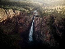 Aerial View Of Wallaman Falls At Sunset, The Highest Single Drop Waterfall In Australia, Queensland, Australia.