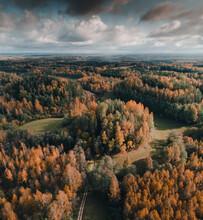 Aerial View Of South Estonian Hills And Forest In Fall Season, Karula National Park, Võrumaa, Estonia.