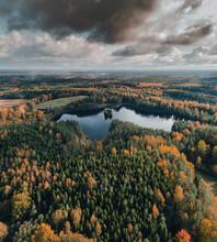 Aerial View Of Suur Saarjärv Lake With Dramatic Clouds In Fall Season, Karula National Park, Võrumaa, Estonia.
