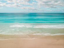 Aerial View Of An Empty Beach, Cooloola Aera, Queensland, Australia.