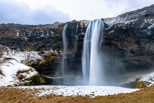 Front View Of The Seljalandsfoss Waterfall In Southern Iceland. This Spectacular Fall Has A 60 Metre Drop And Is Part Of The Seljalands River. Long Exposure.