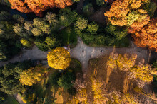 Aerial View Of A Walking Path In Giardini Idro Montanelli, A Public And Famous Park In Milan Downtown, Milan, Lombardia, Italy.