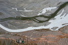Aerial View Of Spiti River From Top, View Of The Snow Melting Along The Mountain Crest Near Kaza Township, Himachal Pradesh, India.