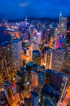 Hong Kong - 06 August 2020: Aerial View Of Hong Kong Downtown Central District With Skyscrapers At Night, Central Hong Kong Island, Central And Western District, Hong Kong.