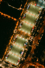 Aerial View Of The Victoria Park In Causeway Bay By Night