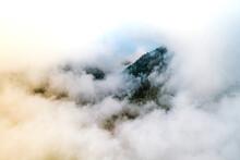Aerial View Of Clouds In Caldera De Taburiente National Park, La Palma, Canary Islands, Spain.