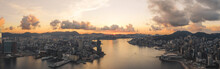 Hong Kong - 29 July 2020: Panoramic Aerial View Of Hong Kong Victoria Harbour At Sunrise, Central And Western District, Hong Kong.
