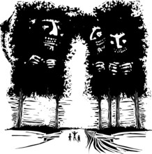 Woodcut Expressionist Style Image Of Giant European Trolls Who Have The Shape Of Trees.