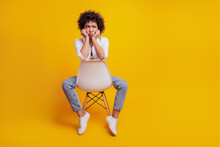 Portrait Of Frustrated Woman Crying Sit Chair Bad Mood On Yellow Wall