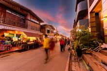 Blurred Walking Loei Chiang Khan Walking Street And Night Market,Thailand People In Street Market At Twilight With Bokeh , Chinag Khan , Thailand