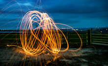 Steel Wool Light Trails At Night