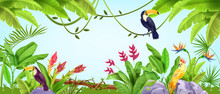 Summer Jungle Frame, Tropical Nature Bird Background, Parrot, Toucan, Banana And Palm Leaves, Liana. Paradise Wildlife Hawaii Exotic Illustration, Amazon Environment Landscape. Jungle Frame With Stone