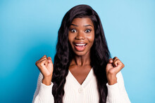Photo Portrait Overjoyed Black Skinned Girl Gesturing Like Winner Isolated Vibrant Blue Color Background
