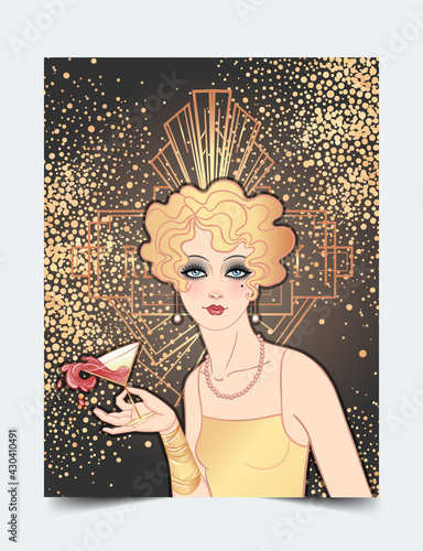 Fototapeta Art Deco vintage illustration of flapper girl. Retro party character in 1920 s style. Vector design for glamour event or jazz party. obraz