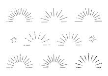 あしらい 放射線 集中線 太陽線 きらきら 飾り マーク 鉛筆 クレヨン 手書き サンバースト 半円 フレーム 見出し アイコン セット/シンプルでベーシックな素材
