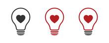 Light Bulb, Love, Heart. Icon Set