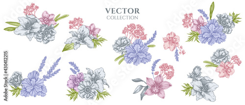 Foto Flower bouquet of pastel anemone, lavender, rosemary everlasting, phalaenopsis,