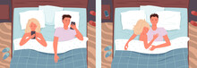 Couple People Sleeping Poses In Bed Vector Illustration Set. Cartoon Young Happy Man And Woman Characters Sleep Together In Bedroom, Wife And Husband, Relationship Background.