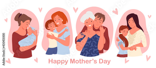 Fotografiet Happy mothers day concept with cute family people love, care and hug greeting ca