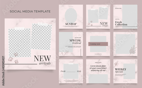 social media template banner blog fashion sale promotion. fully editable instagram and facebook square post frame puzzle organic sale poster. pink black brown vector background - fototapety na wymiar