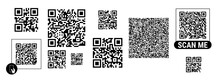 Abstract QR Codes For Smartphone Scanning. Flat Style Vector Illustration Isolated On White