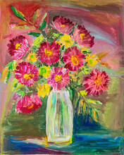 Acrylic Or Oil Painting. Bouquet Of Asters In A Vase