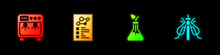 Set Biosafety Box, Clinical Record, Plant Breeding And Experimental Insect Icon. Vector